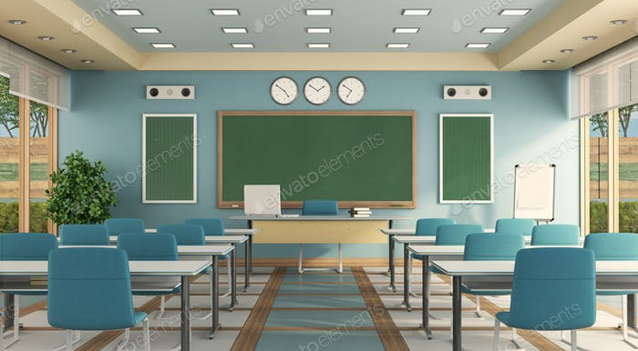 Colorful classrom without student