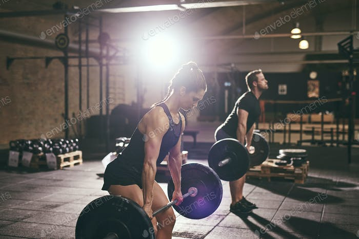 Fit muscular people lifting barbells in gym