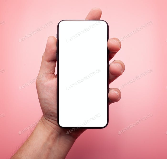 smartphone with blank white display isolated on pink background