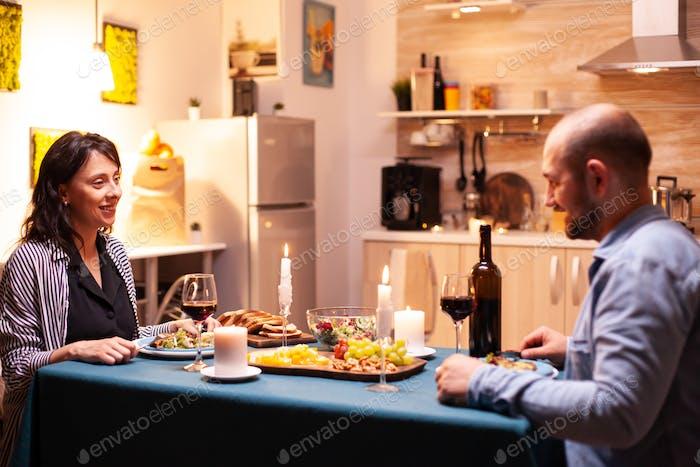 Enjoying romantic dinner