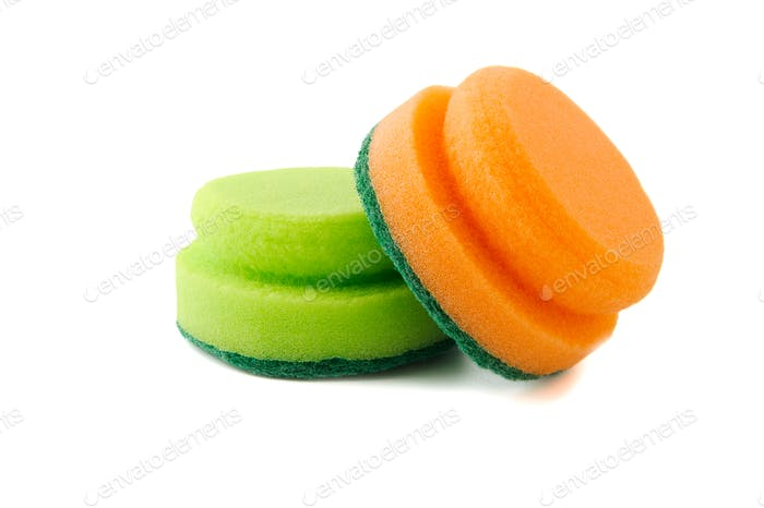 Two foam sponges for washing dishes or cleaning the house.