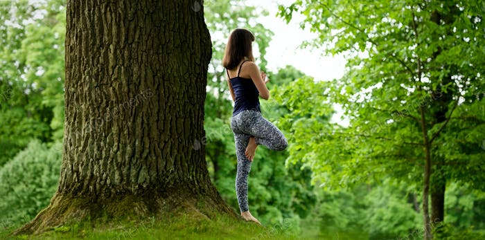 Attractive young female is practicing yoga and doing asana Vrikshasana in the morning.