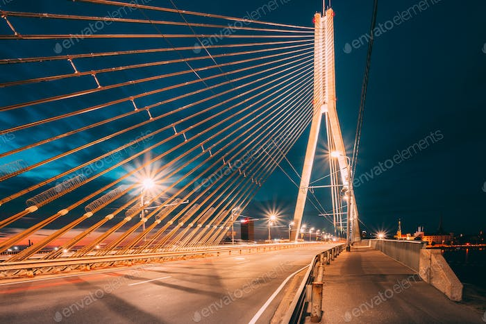 Vansu Bridge In Riga, Latvia. Shroud Bridge.  Cable-Stayed Bridg