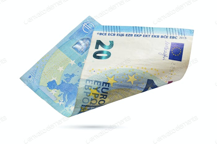 Twenty euro banknote isolated on a white background.