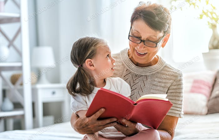 Grandmother reading a book