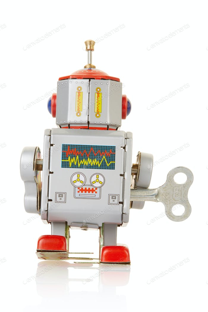 Robot vintage toy back isolated on white