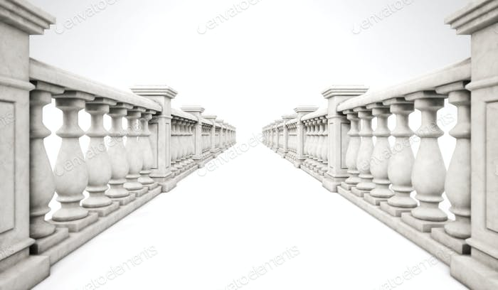 Thumbnail for 3d rendering marble ballustrade row with steps on a white backgr