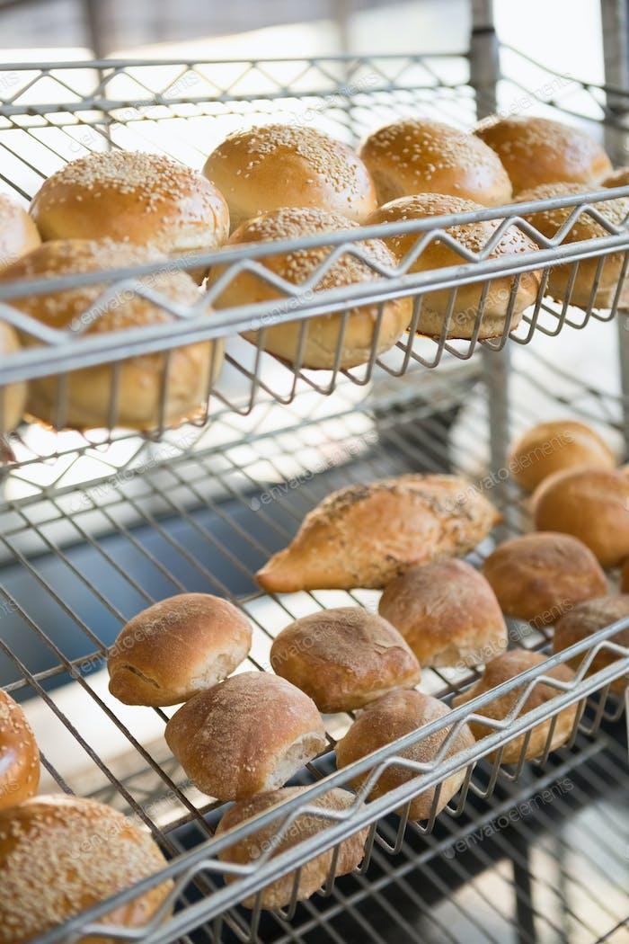 Anzeige von frisch gebackenen Broten in der Bäckerei
