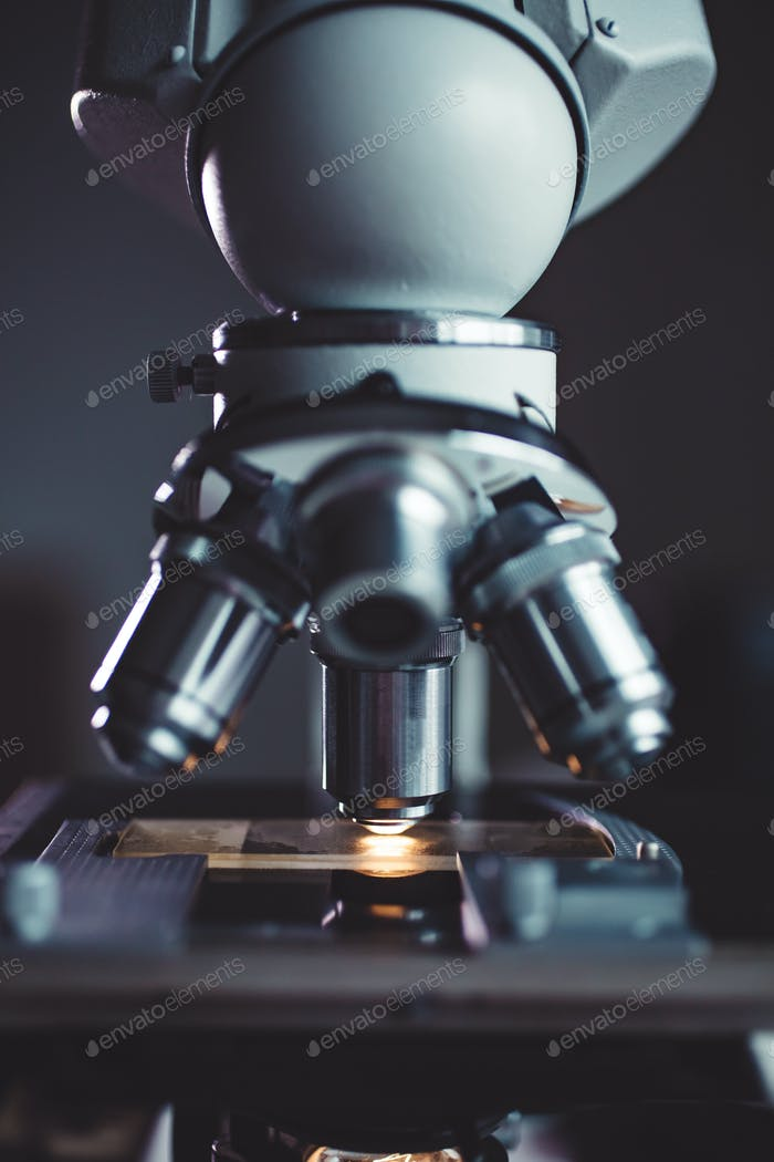 Close-up shot of microscope