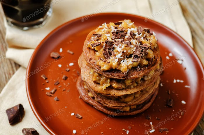 German chocolate pancakes with coconut and chocolate