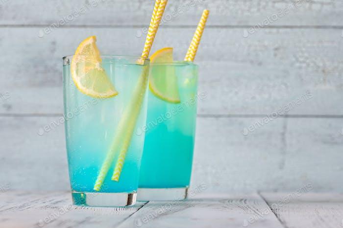 Glasses of electric lemonade