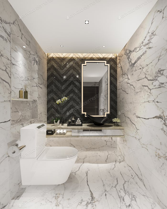 3d rendering bright white luxury toilet and bathroom