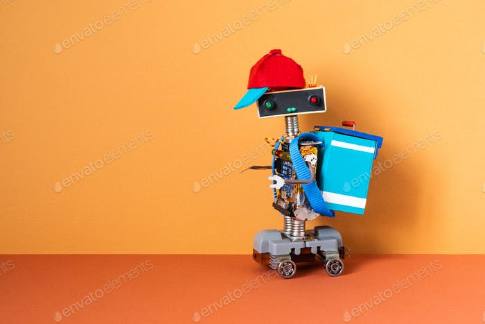 Pizza delivery service. Hipster robot courier dressed in uniform drives an electric skateboard
