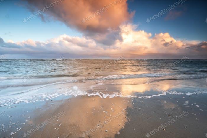 sky over North sea at sunrise