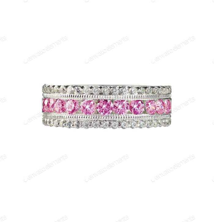 Pink diamond band wedding bridal engagement ring
