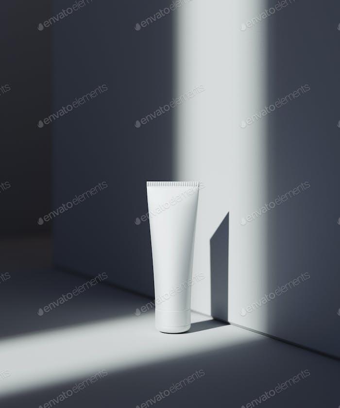Naturkosmetische Präsentationsszene. Platzierung von Produkten. Weißer Hintergrund mit dunklen Schatten.