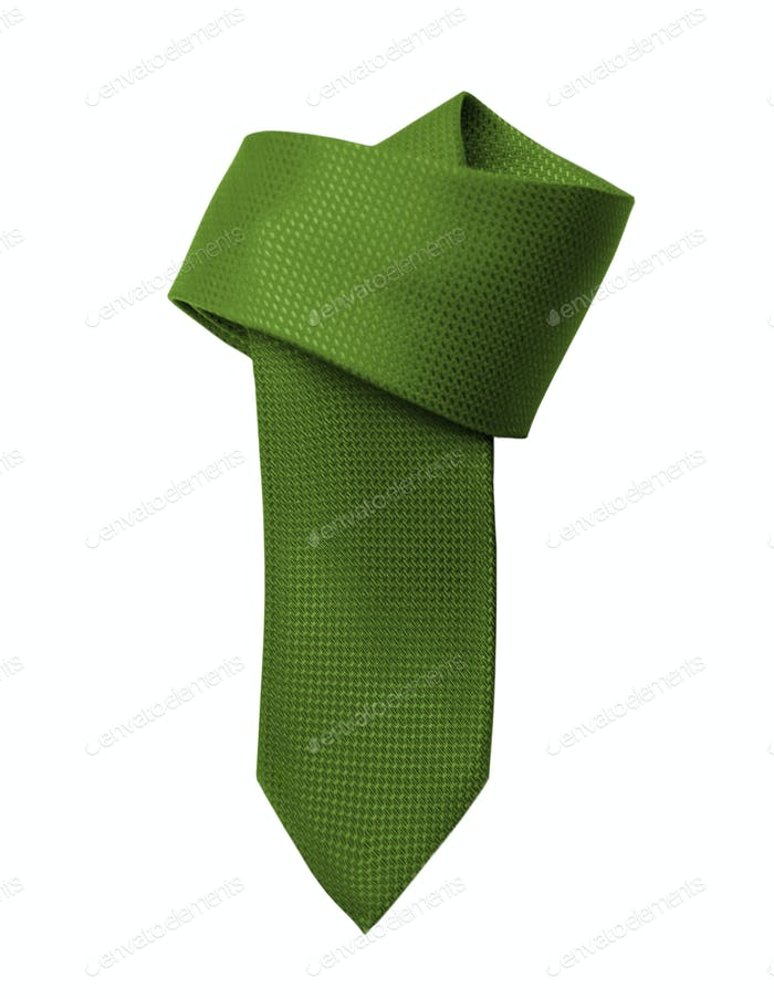 Green tie close up on white background