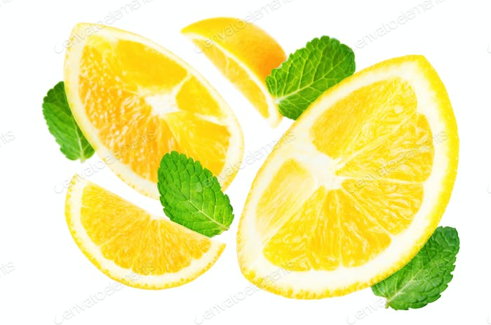 Flying Oranges with mint leaves