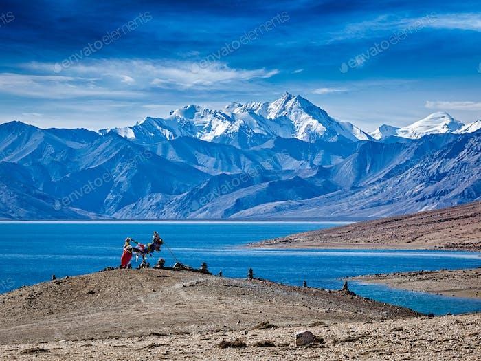 Buddhistische Gebetsfahnen am Himalaya-See Tso Moriri