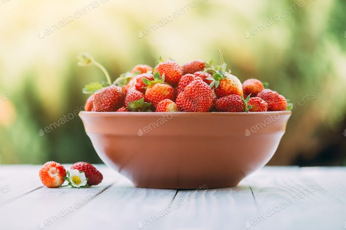 Strawberry in plate closeup