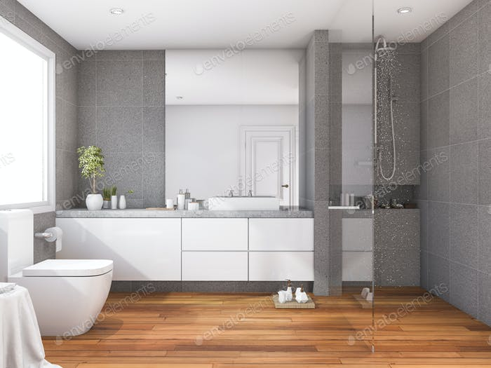 3d Rendering Tropical And Modern Style Wood Bathroom Near Window Photo By Dit26978 On Envato Elements