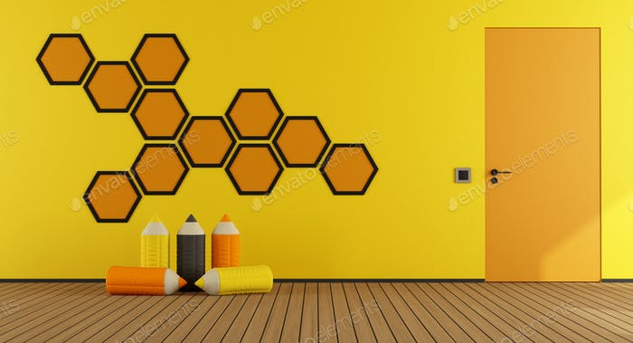Yellow and orange playroom
