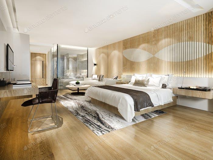 3D representación moderna dormitorio de lujo suite y cuarto de baño