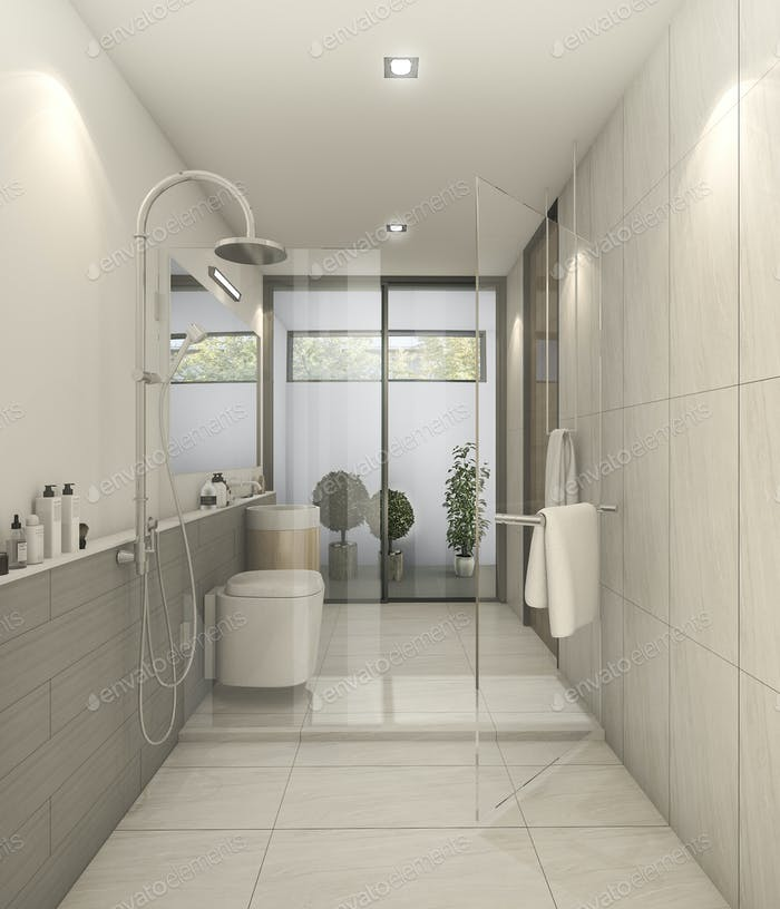 3d rendering white nice modern restroom with good decoration