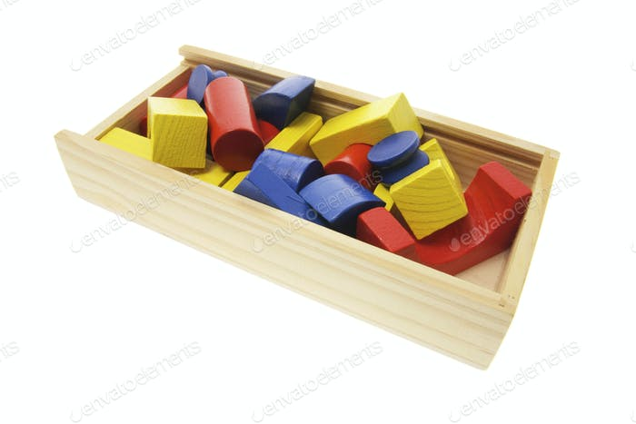 Wooden Building Blocks in Box