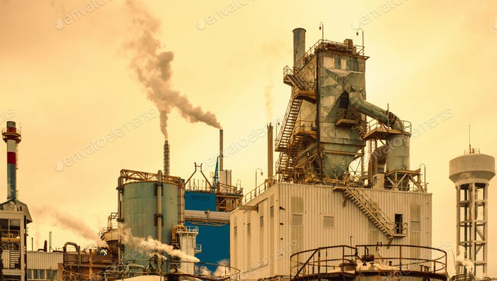 exterior view of a paper processing factory