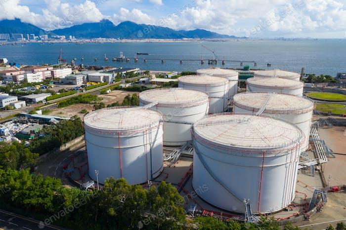 Tuen Mun, Hong Kong 19 July 2020: Coal fired power plant with oil tank in Hong Kong
