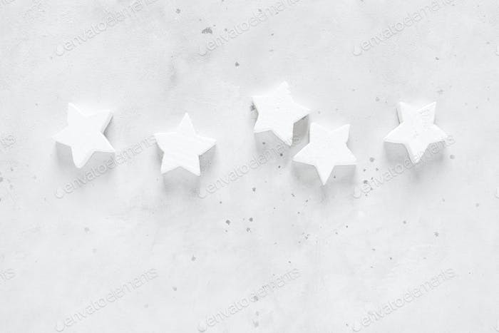 Christmas, Xmas, New Year or Noel holiday festive decorations, stars on white background