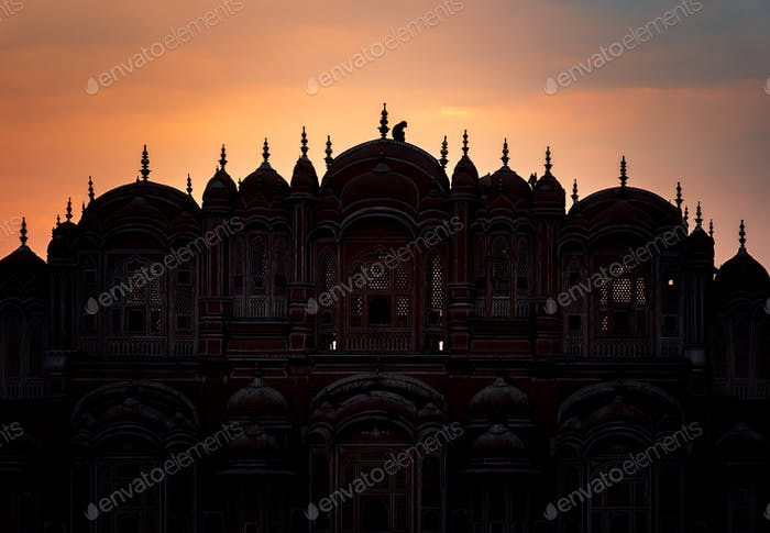 Silhouette of Hawa Mahal palace with monkey at sunset, Jaipur, Rajasthan, India