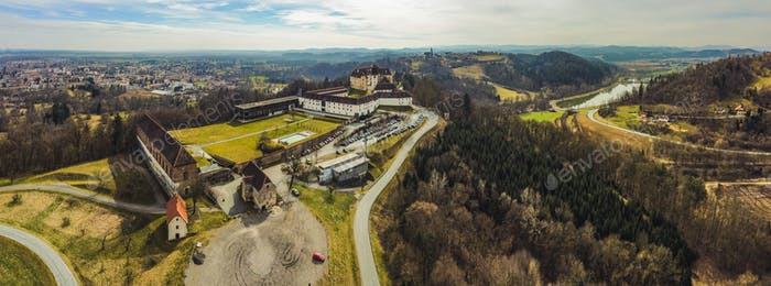 Leibniz, Styria, Austria - Saggau palace castle and hotel. Aerial view from far above travel spot