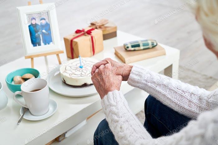 Senior Woman Celebrating Birthday of Husband