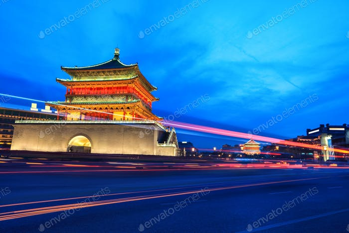 ancient city of xi'an at night