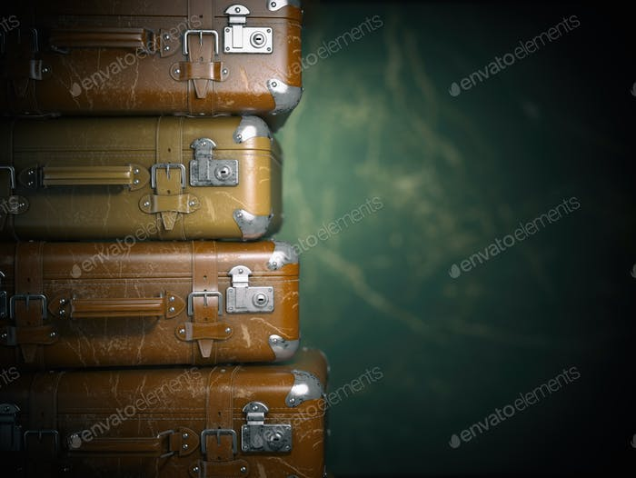 Vintage suitcases on the grunge background. Turism travel concep