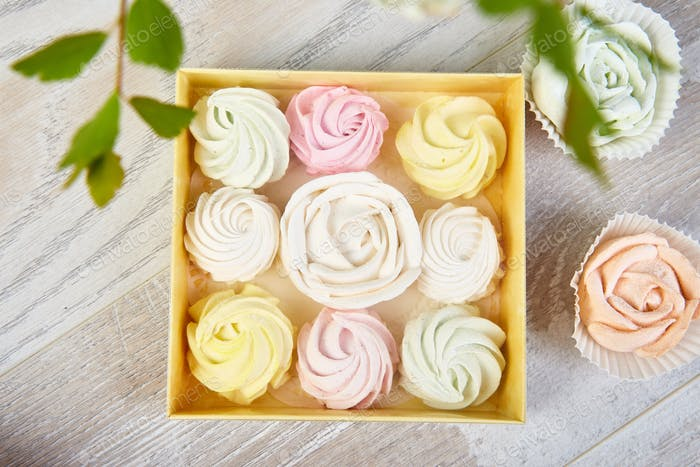 Gift box with homemade pastel multi color marshmallows.