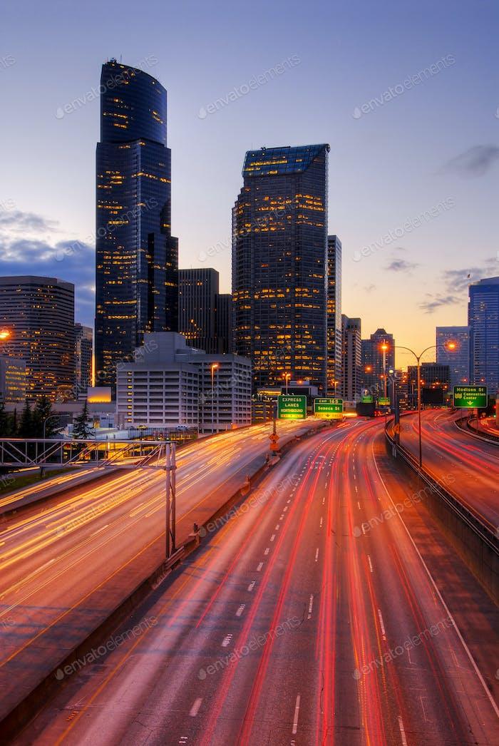 Long exposure view of traffic driving on urban highway, Seattle, Washington, United States