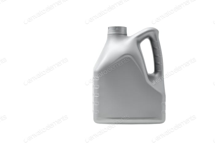 Gray canister with engine oil isolated on white background