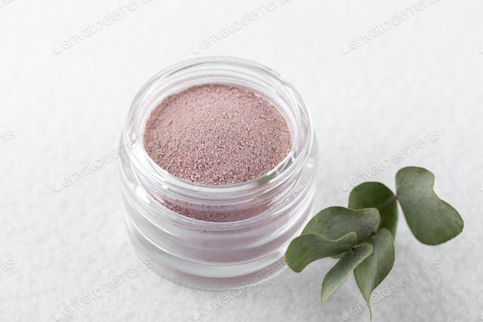 Pink cosmetic clay powder for skin and hair