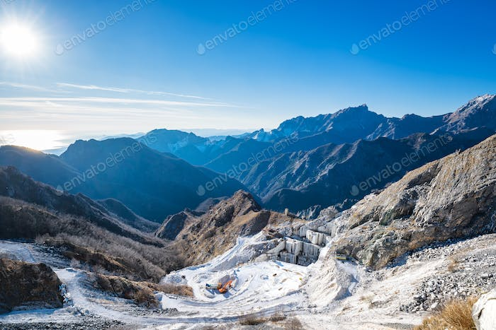 Alpi Apuane mountains and marble quarry view. Carrara, Tuscany,