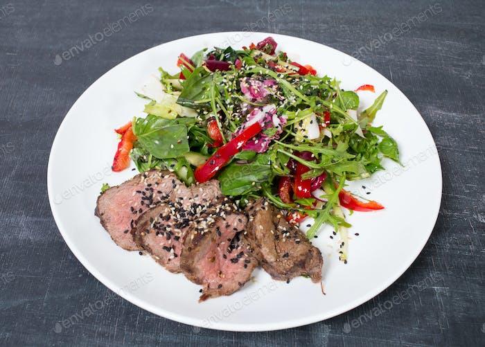 Grilled thai beef salad.