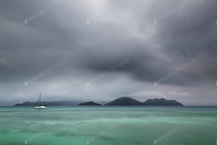 Dramatic Praslin Evening View, Seychelles