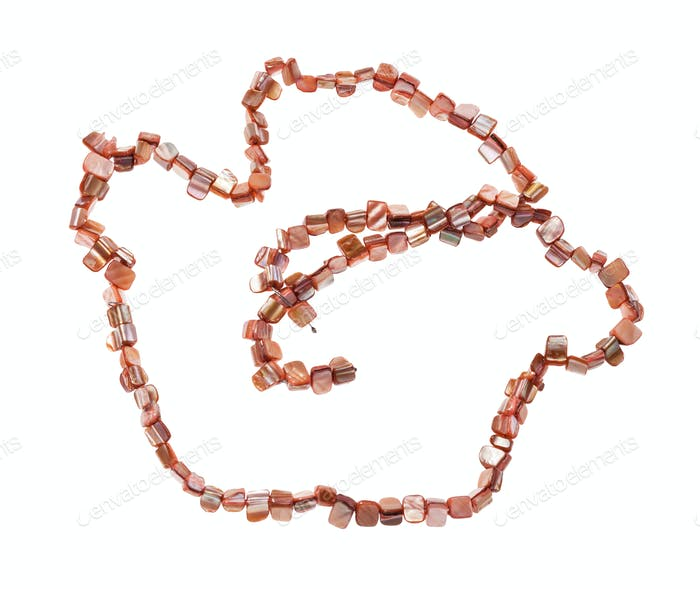 coiled string of beads from pink mother-of-pearl