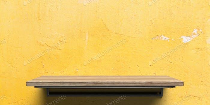 Leeres Holzregal auf gelbem Wandhintergrund. Perspektivische Ansicht. 3D Illustration