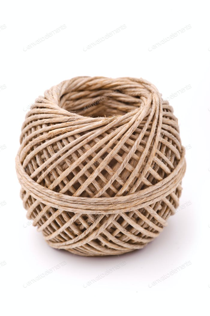 Natural rope ball on a white background