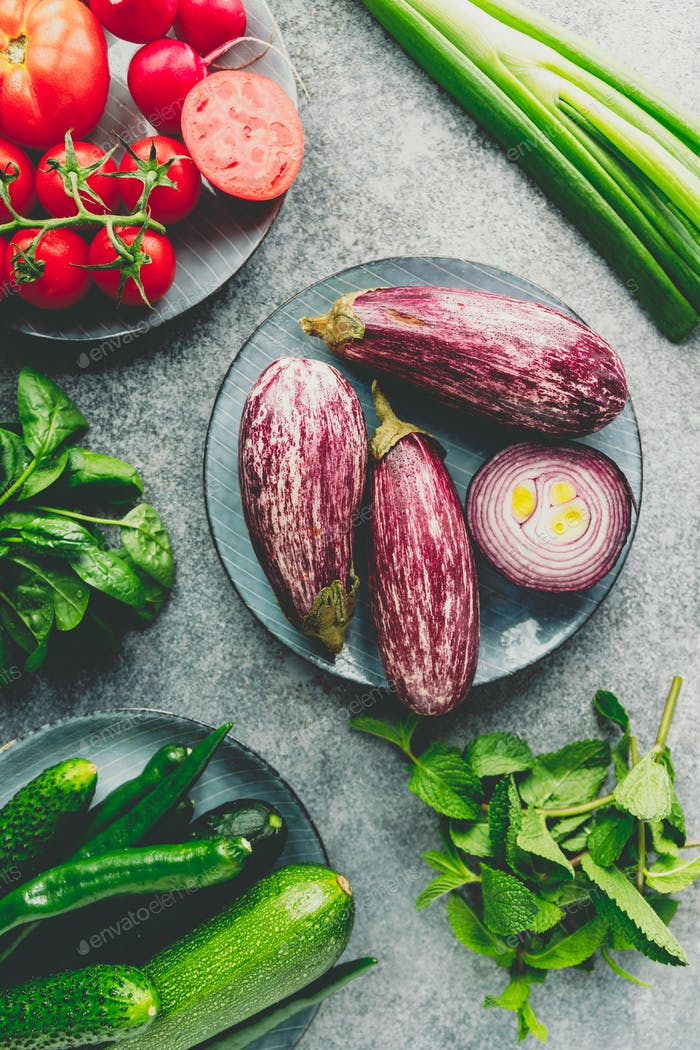 Fresh Fairy Tale kind eggplant and different vegetables