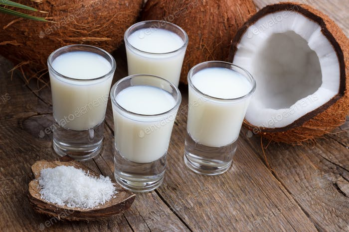Coconut milk and shells