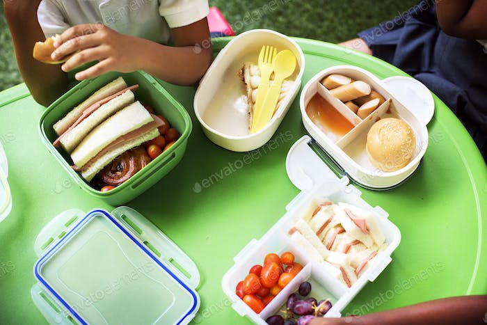 Group of Kindergarten Students Eating Food Lunch Break Together